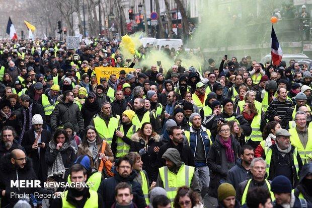 جلیقه زردها در شهرهای مختلف فرانسه تظاهرات کردند